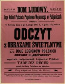 """Odczyt z obrazami świetlnymi p.t. """"Boje Legionów Polskich"""""""
