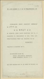 [Zaproszenie na raut zorganizowany 14 kwietnia 1917 roku przez Ligę Kobiet Polskich Pogotowia Wojennego w Pabianicach]