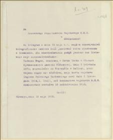 Telegram z Oswięcimia w sprawie danych personalnych Tadeusza Regera. Odpowiedź Tadeusza Regera - 12-13.05.1915