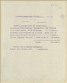 """Rachunek dla księgarni """"Stella"""" za otrzymane do sprzedaży wydawnictwa legionowe - 18.05.1915"""