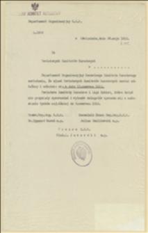 Pismo Departamentu Organizacyjnego NKN zawiadamiające o zjeździe powiatowych komitetów narodowych w dniu 13.06.1915 - 28.05.1915