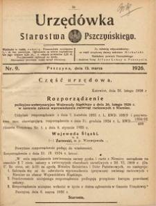 Urzędówka Starostwa Pszczyńskiego, 1926, nr 9