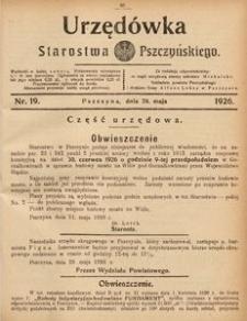 Urzędówka Starostwa Pszczyńskiego, 1926, nr 19