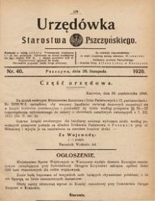 Urzędówka Starostwa Pszczyńskiego, 1926, nr 40