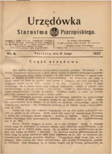 Urzędówka Starostwa Pszczyńskiego, 1927, nr 6