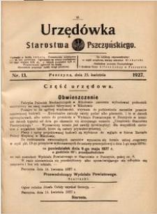 Urzędówka Starostwa Pszczyńskiego, 1927, nr 13