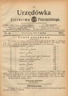 Urzędówka Starostwa Pszczyńskiego, 1927, nr 41