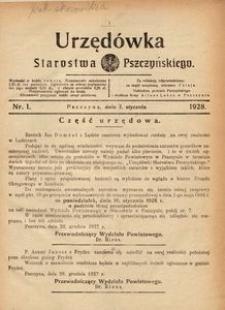 Urzędówka Starostwa Pszczyńskiego, 1928, nr 1