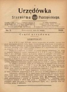 Urzędówka Starostwa Pszczyńskiego, 1928, nr 5