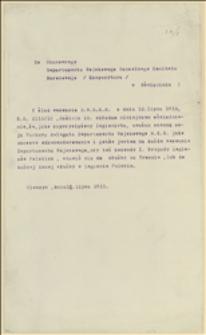 Odpowiedź Tadeusza Regera na okólnik nr 10 z dnia 12.07.1915 w sprawie pełnienia funkcji Delegata Departamentu Wojskowego NKN w Cieszynie - 18.07.1915