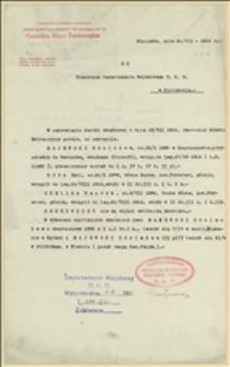 Odpowiedź Centralnego Biura Ewidencyjnego Departamentu Wojskowego NKN w sprawie służby w legionach kilku osób - 21.07.1915