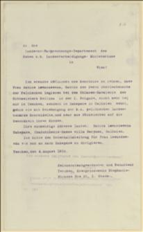 Pismo Tadeusza Regera do austriackiego ministerstwa obrony z informacją, że Sabina Lewandowska wyjechała z Cieszyna do Zakopanego - 4.08.1915