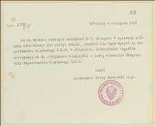 Pismo Aleksandra Jerzego Rutkowskiego o zmianie siedziby Ekspozytury Departamentu Wojskowego NKN w Oświęcimiu - 9.09.1915