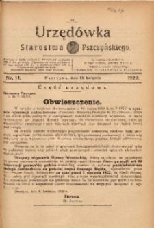 Urzędówka Starostwa Pszczyńskiego, 1929, nr 14