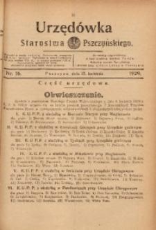 Urzędówka Starostwa Pszczyńskiego, 1929, nr 16