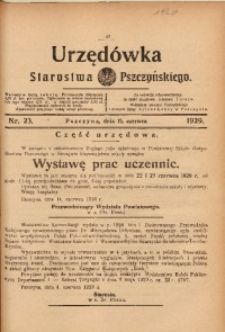 Urzędówka Starostwa Pszczyńskiego, 1929, nr 23