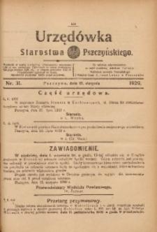 Urzędówka Starostwa Pszczyńskiego, 1929, nr 31