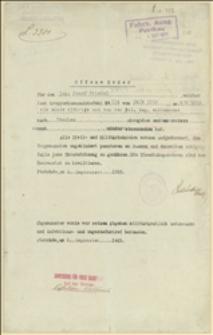 Karta podróży dla legionisty Józefa Friedla na trasie Piotrków - Cieszyn - 8.09.1915