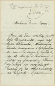 List Zofii Zajchowskiej do niezidentyfikowanej Zofii w sprawie odszukania zaginionej Zofii Skrzyszowskiej, kurierki legionowej na terenie Królestwa Polskiego
