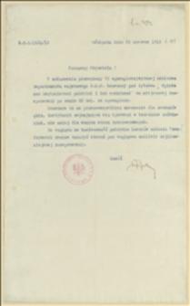 """Pismo Departamentu Wojskowego NKN o wysłaniu broszury pt. """"Opieka nad Legionistami polskimi i ich rodzinami"""" - 26.06.1915"""