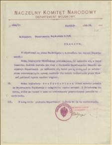 Pismo Departamentu Wojskowego NKN w sprawach legionistów Sicińskiego i Gwoździewicza - 10.09.1915