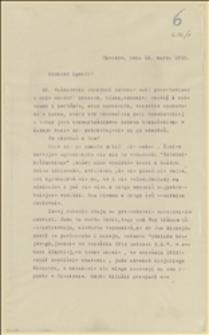 Odpowiedź Tadeusza Regera na list Ignacego Daszyńskiego[?] opisujący panujące wówczas stosunki w Cieszynie z krytyką adwokata Jana Michejdy - 13.03.1915