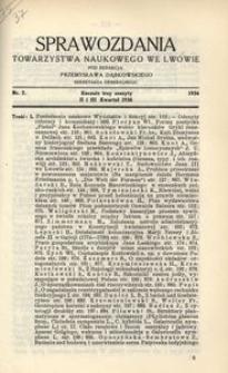 Sprawozdania Towarzystwa Naukowego we Lwowie 1936, R. 16, z. 2