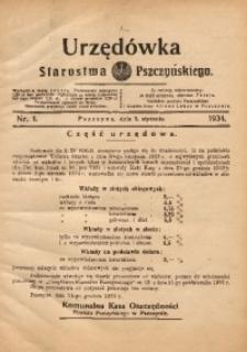 Urzędówka Starostwa Pszczyńskiego, 1934, nr1