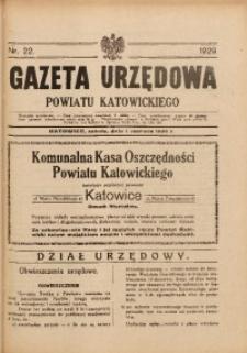 Gazeta Urzędowa Powiatu Katowickiego, 1929, nr22