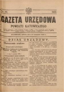 Gazeta Urzędowa Powiatu Katowickiego, 1929, nr46