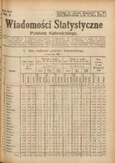 """Wiadomości Statystyczne Powiatu Katowickiego, Nr 3. Dodatek do """"Gazety Urzędowej"""" Pow. Katowickiego Nr. 28 z dnia 13 lipca 1929 r."""