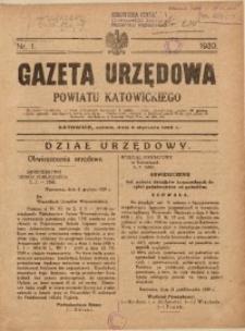 Gazeta Urzędowa Powiatu Katowickiego, 1930, nr1