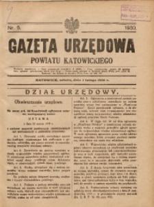 Gazeta Urzędowa Powiatu Katowickiego, 1930, nr5