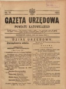 Gazeta Urzędowa Powiatu Katowickiego, 1930, nr12