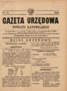 Gazeta Urzędowa Powiatu Katowickiego, 1930, nr13