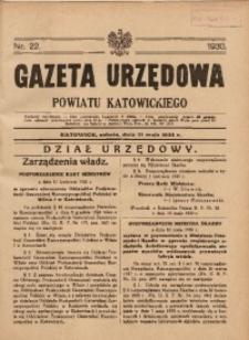 Gazeta Urzędowa Powiatu Katowickiego, 1930, nr22