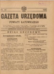 Gazeta Urzędowa Powiatu Katowickiego, 1930, nr43
