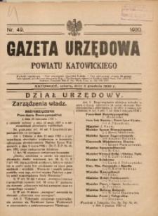 Gazeta Urzędowa Powiatu Katowickiego, 1930, nr49