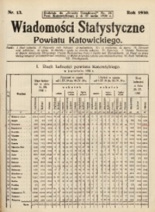 """Wiadomości Statystyczne Powiatu Katowickiego, Nr 13. Dodatek do """"Gazety Urzędowej"""" Pow. Katowickiego Nr. 20 z dnia 17 maja 1930 r."""