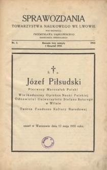Sprawozdania Towarzystwa Naukowego we Lwowie 1935, R. 15, z. 1
