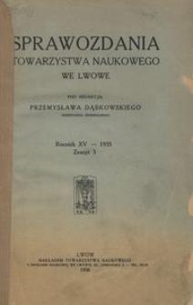 Sprawozdania Towarzystwa Naukowego we Lwowie 1935, R. 15, z. 3