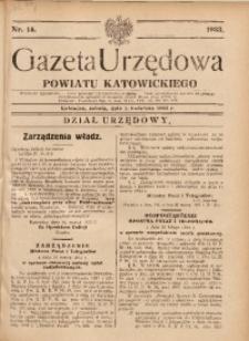 Gazeta Urzędowa Powiatu Katowickiego, 1933, nr14