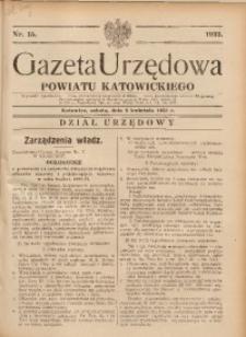 Gazeta Urzędowa Powiatu Katowickiego, 1933, nr15