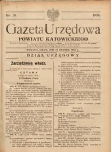 Gazeta Urzędowa Powiatu Katowickiego, 1933, nr16
