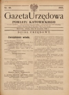 Gazeta Urzędowa Powiatu Katowickiego, 1933, nr40