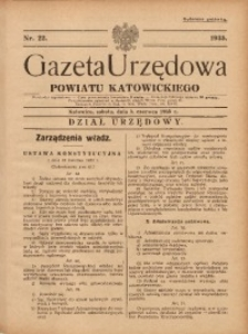 Gazeta Urzędowa Powiatu Katowickiego, 1935, nr22