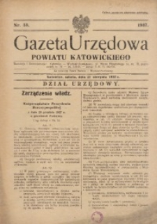 Gazeta Urzędowa Powiatu Katowickiego, 1937, nr33