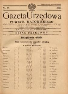 Gazeta Urzędowa Powiatu Katowickiego, 1938, nr15