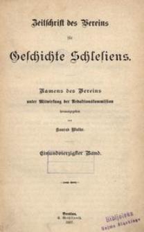 Zeitschrift des Vereins für Geschichte Schlesiens. Namens des Vereins unter Mitwirkung der Redaktionskommission, 1907, Bd. 41