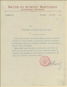 Pismo przewodnie Departamentu Wojskowego NKN do zestawienia rachunkowego za wydawnictwa pobrane z Ekspozytury Departamentu Wojskowego w Oświęcimiu - 17.11.1915